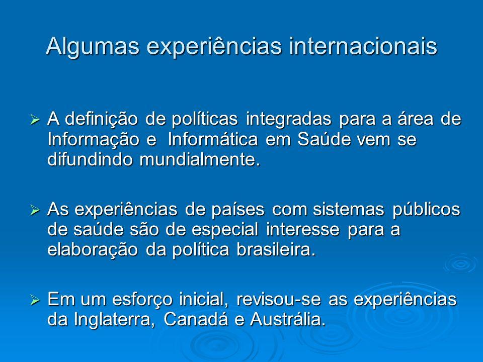 Algumas experiências internacionais A definição de políticas integradas para a área de Informação e Informática em Saúde vem se difundindo mundialment