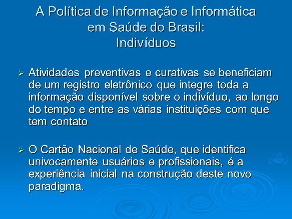 A Política de Informação e Informática em Saúde do Brasil: Indivíduos Atividades preventivas e curativas se beneficiam de um registro eletrônico que i