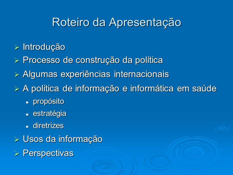 Roteiro da Apresentação Introdução Introdução Processo de construção da política Processo de construção da política Algumas experiências internacionai
