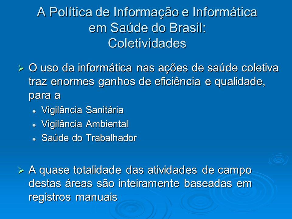 A Política de Informação e Informática em Saúde do Brasil: Coletividades O uso da informática nas ações de saúde coletiva traz enormes ganhos de efici