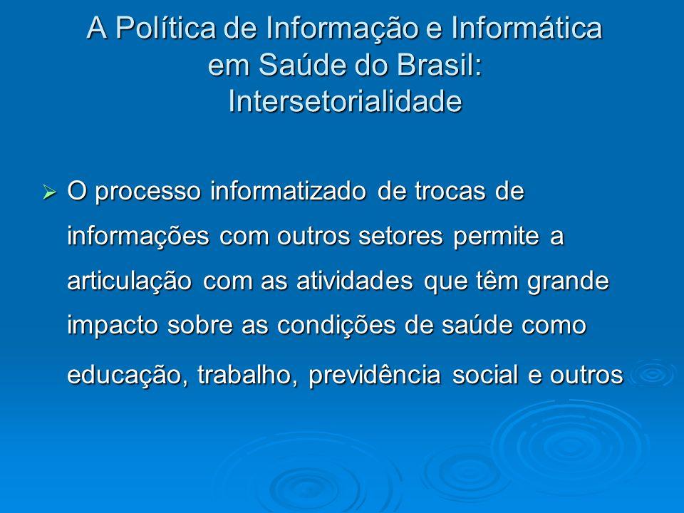 A Política de Informação e Informática em Saúde do Brasil: Intersetorialidade O processo informatizado de trocas de informações com outros setores per