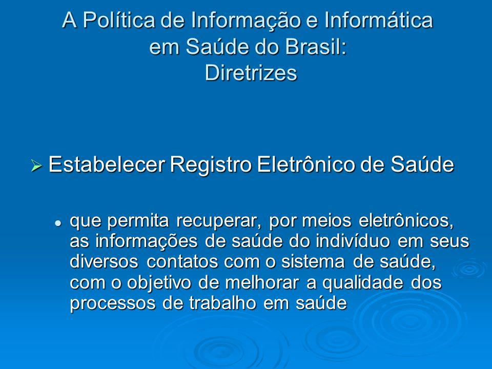 A Política de Informação e Informática em Saúde do Brasil: Diretrizes Estabelecer Registro Eletrônico de Saúde Estabelecer Registro Eletrônico de Saúd