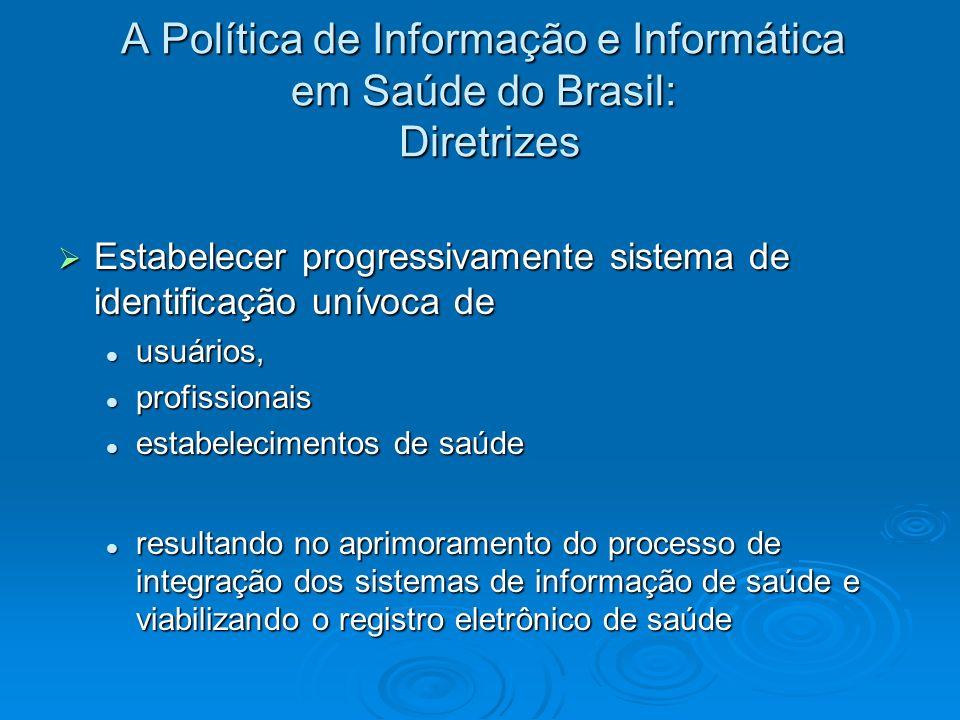 A Política de Informação e Informática em Saúde do Brasil: Diretrizes Estabelecer progressivamente sistema de identificação unívoca de Estabelecer pro