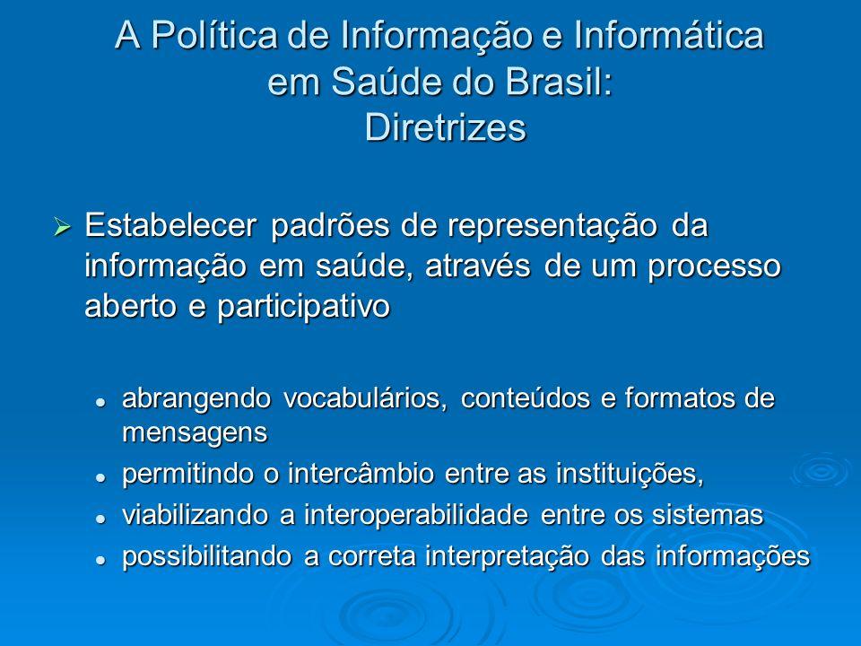 A Política de Informação e Informática em Saúde do Brasil: Diretrizes Estabelecer padrões de representação da informação em saúde, através de um proce