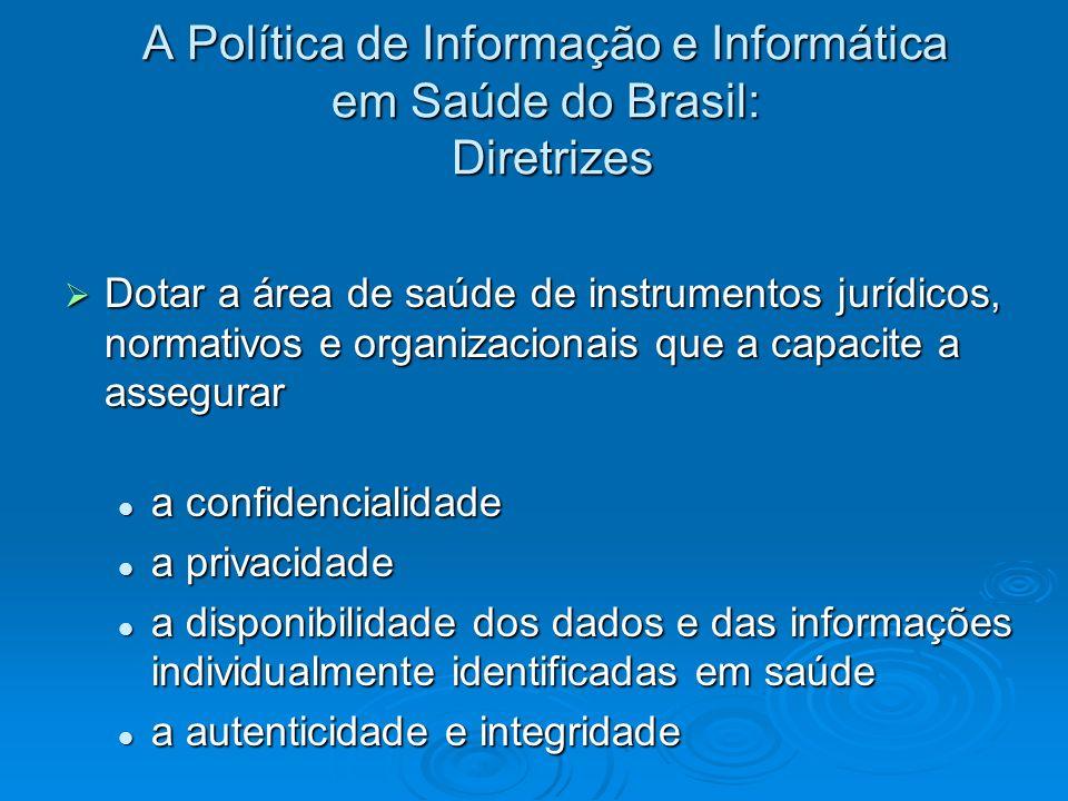 A Política de Informação e Informática em Saúde do Brasil: Diretrizes Dotar a área de saúde de instrumentos jurídicos, normativos e organizacionais qu