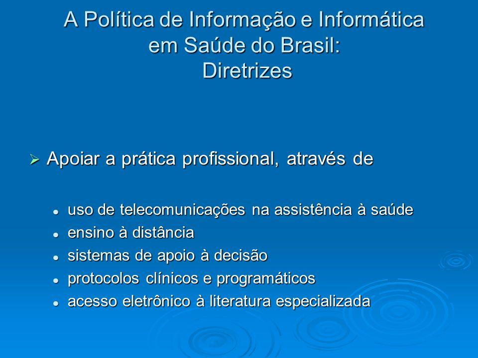 A Política de Informação e Informática em Saúde do Brasil: Diretrizes Apoiar a prática profissional, através de Apoiar a prática profissional, através