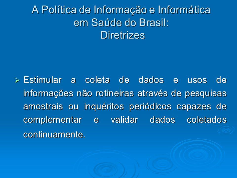 A Política de Informação e Informática em Saúde do Brasil: Diretrizes Estimular a coleta de dados e usos de informações não rotineiras através de pesq