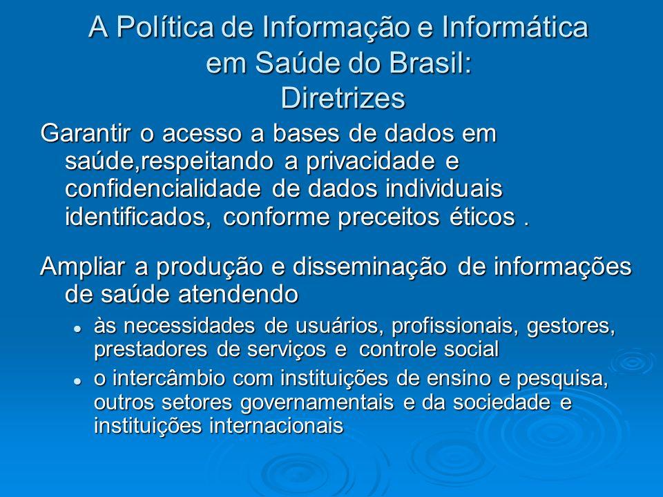 A Política de Informação e Informática em Saúde do Brasil: Diretrizes Garantir o acesso a bases de dados em saúde,respeitando a privacidade e confiden