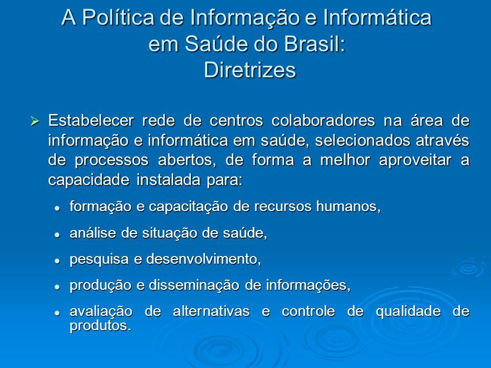 A Política de Informação e Informática em Saúde do Brasil: Diretrizes Estabelecer rede de centros colaboradores na área de informação e informática em