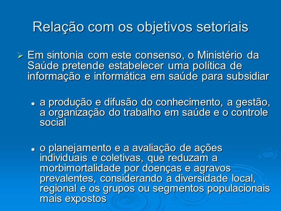 Relação com os objetivos setoriais Em sintonia com este consenso, o Ministério da Saúde pretende estabelecer uma política de informação e informática