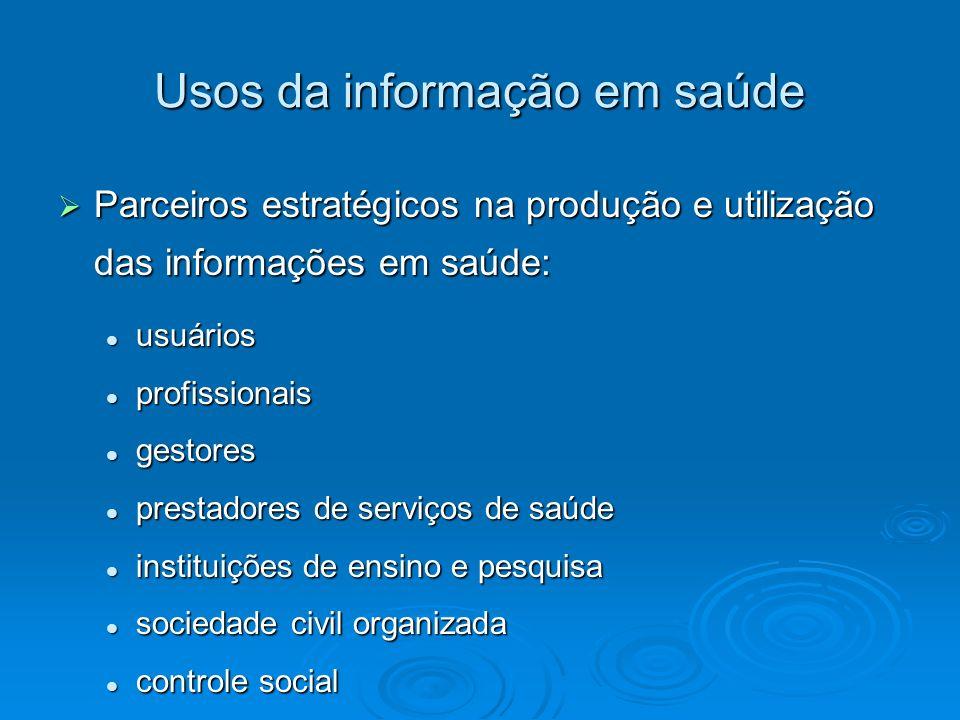 Usos da informação em saúde Parceiros estratégicos na produção e utilização das informações em saúde: Parceiros estratégicos na produção e utilização