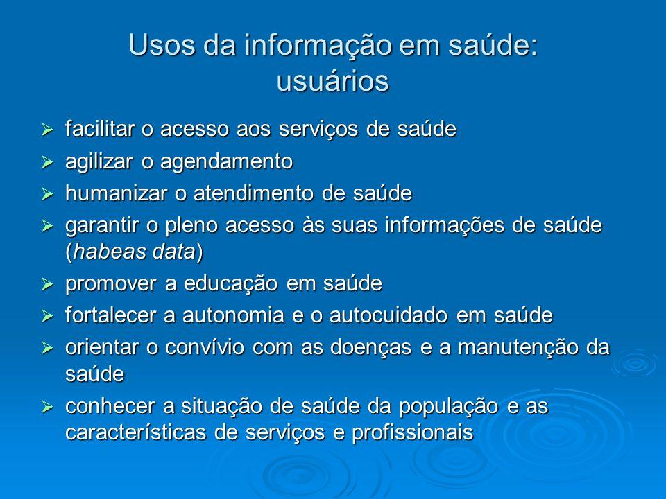 Usos da informação em saúde: usuários facilitar o acesso aos serviços de saúde facilitar o acesso aos serviços de saúde agilizar o agendamento agiliza