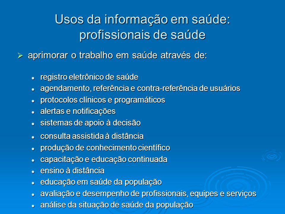Usos da informação em saúde: profissionais de saúde aprimorar o trabalho em saúde através de: aprimorar o trabalho em saúde através de: registro eletr