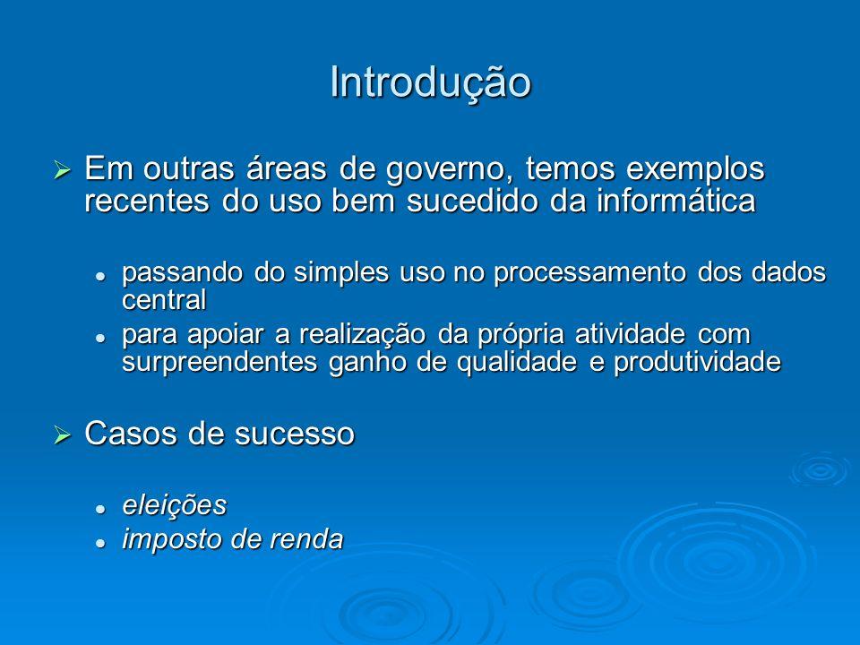 Introdução São poucas as iniciativas de informatização dos serviços de saúde no Brasil na união, estados e municípios.
