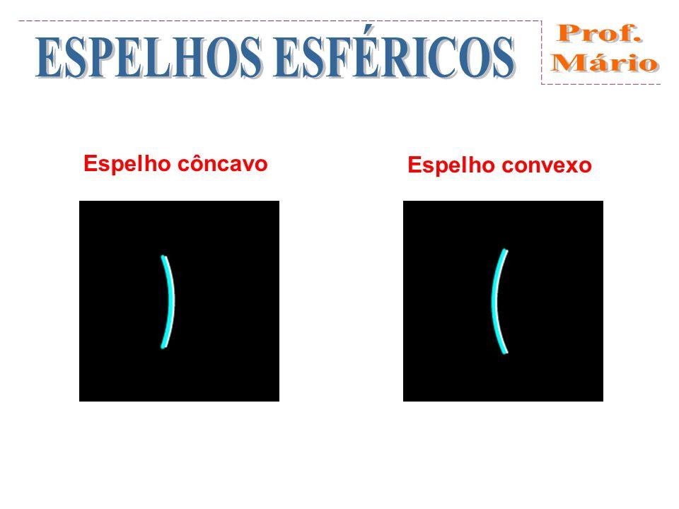 Elementos de um espelho esférico Elementos de um espelho esférico: a) côncavo b) convexo C: centro de curvatura (centro da esfera que originou o espelho) V: vértice do espelho (pólo da calota) Eixo principal do espelho: reta que passa por CV R: raio de curvatura do espelho (raio da esfera que originou o espelho) F: foco do espelho