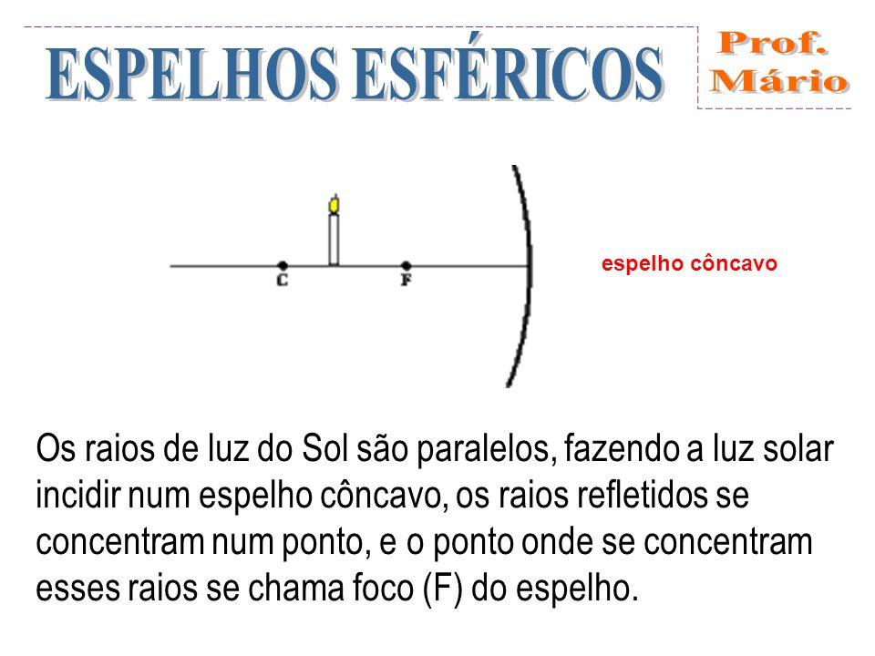 Se, inversamente, colocarmos no foco uma fonte luminosa de pequenas dimensões, por exemplo: uma vela ou uma pequena lâmpada elétrica, os raios enviados e refletidos no espelho, formam um feixe paralelo.