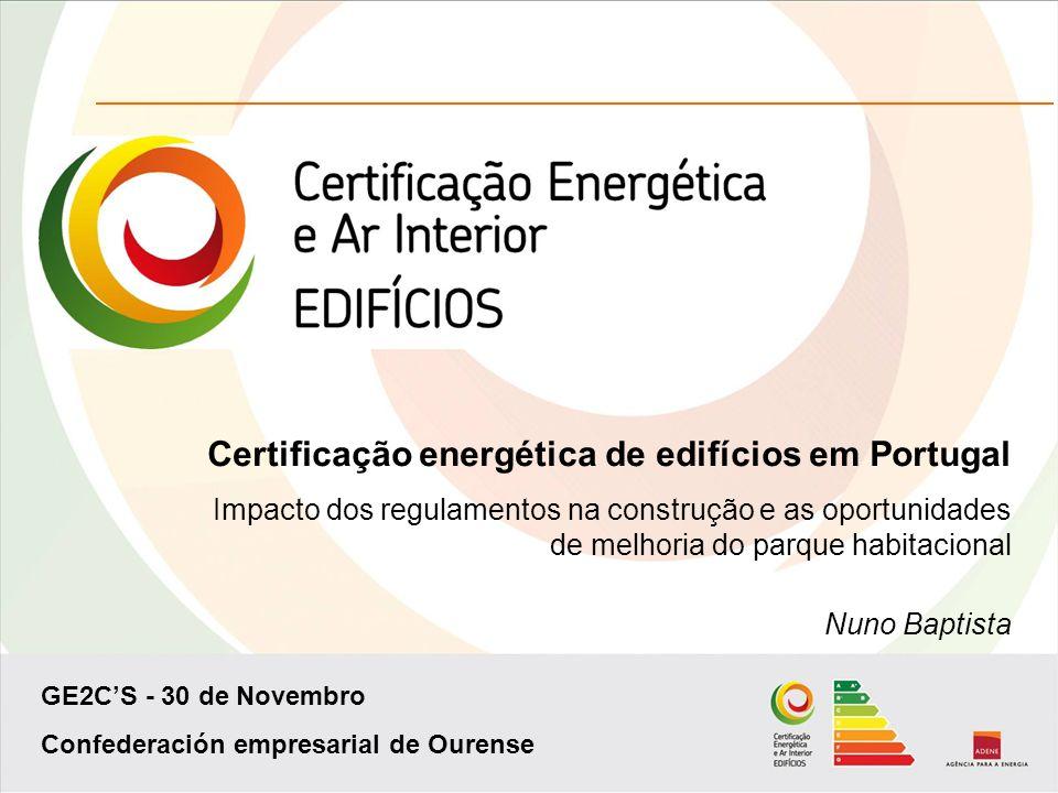 GE2CS - 30 de Novembro Confederación empresarial de Ourense Certificação energética de edifícios em Portugal Impacto dos regulamentos na construção e as oportunidades de melhoria do parque habitacional Nuno Baptista