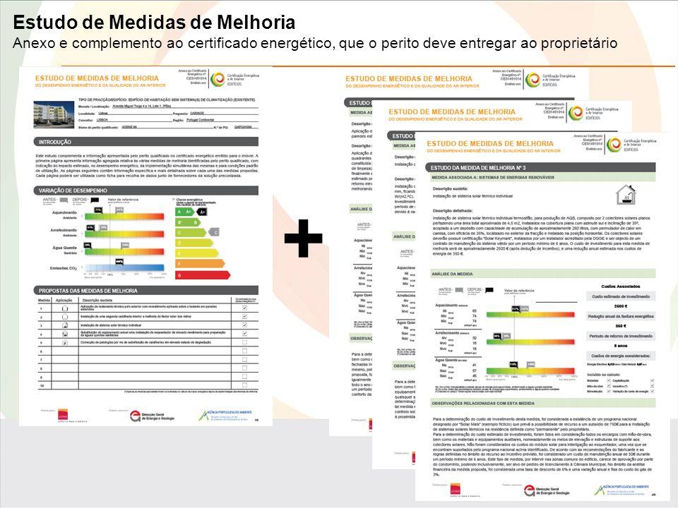Estudo de Medidas de Melhoria Anexo e complemento ao certificado energético, que o perito deve entregar ao proprietário +