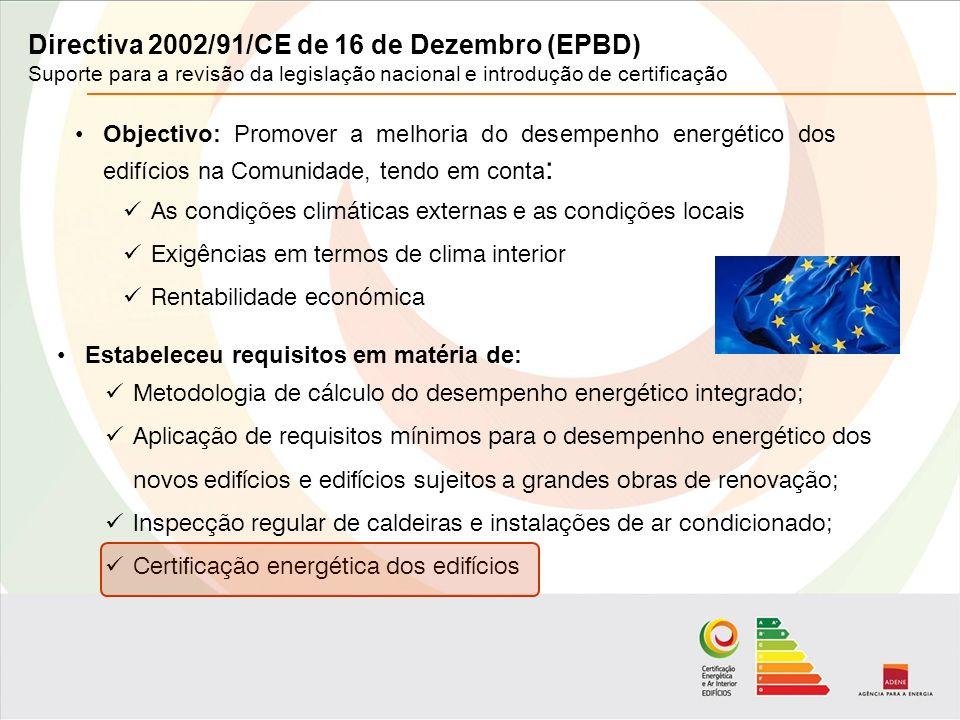 Directiva 2002/91/CE de 16 de Dezembro (EPBD) Suporte para a revisão da legislação nacional e introdução de certificação Objectivo: Promover a melhoria do desempenho energético dos edifícios na Comunidade, tendo em conta : As condições climáticas externas e as condições locais Exigências em termos de clima interior Rentabilidade económica Estabeleceu requisitos em matéria de: Metodologia de cálculo do desempenho energético integrado; Aplicação de requisitos mínimos para o desempenho energético dos novos edifícios e edifícios sujeitos a grandes obras de renovação; Inspecção regular de caldeiras e instalações de ar condicionado; Certificação energética dos edifícios