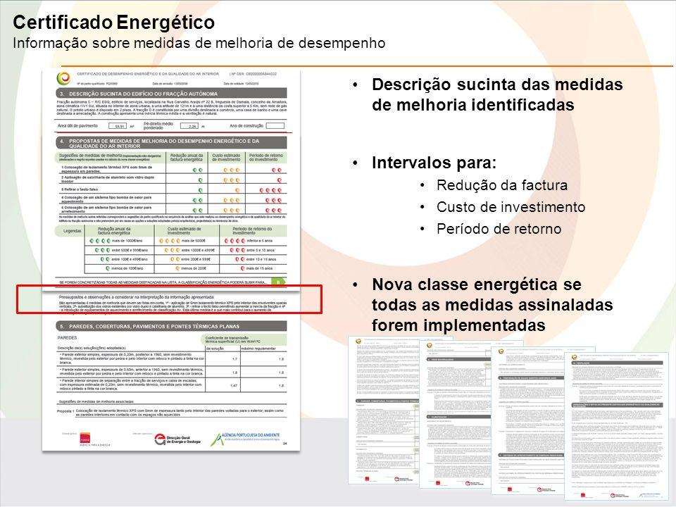 Descrição sucinta das medidas de melhoria identificadas Intervalos para: Redução da factura Custo de investimento Período de retorno Nova classe energética se todas as medidas assinaladas forem implementadas Certificado Energético Informação sobre medidas de melhoria de desempenho