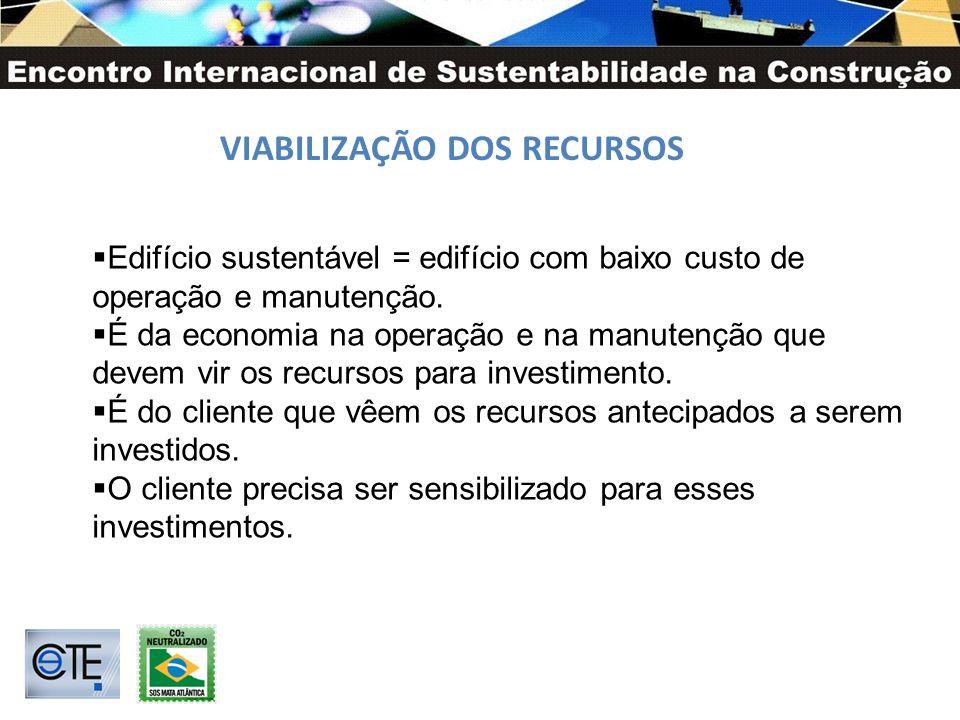 VIABILIZAÇÃO DOS RECURSOS Edifício sustentável = edifício com baixo custo de operação e manutenção. É da economia na operação e na manutenção que deve