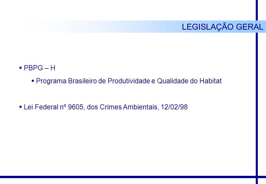 PBPG – H Programa Brasileiro de Produtividade e Qualidade do Habitat Lei Federal nº 9605, dos Crimes Ambientais, 12/02/98 LEGISLAÇÃO GERAL