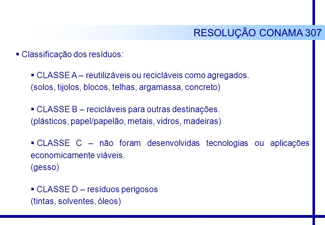 Classificação dos resíduos: CLASSE A – reutilizáveis ou recicláveis como agregados. (solos, tijolos, blocos, telhas, argamassa, concreto) CLASSE B – r