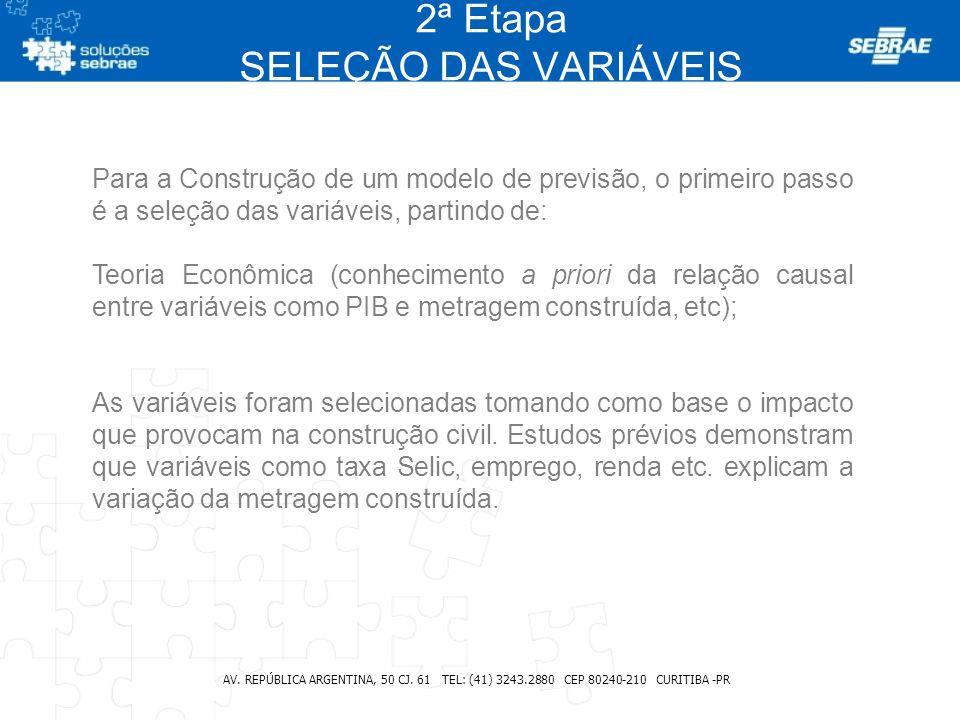 2ª Etapa SELEÇÃO DAS VARIÁVEIS AV. REPÚBLICA ARGENTINA, 50 CJ. 61 TEL: (41) 3243.2880 CEP 80240-210 CURITIBA -PR Para a Construção de um modelo de pre