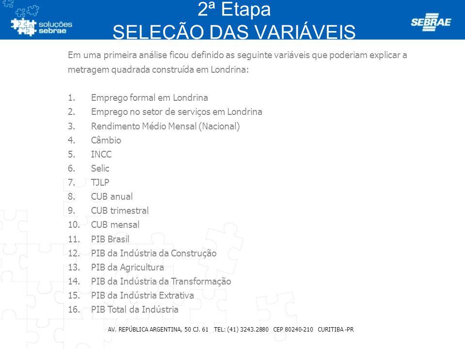 2ª Etapa SELEÇÃO DAS VARIÁVEIS AV. REPÚBLICA ARGENTINA, 50 CJ. 61 TEL: (41) 3243.2880 CEP 80240-210 CURITIBA -PR Em uma primeira análise ficou definid