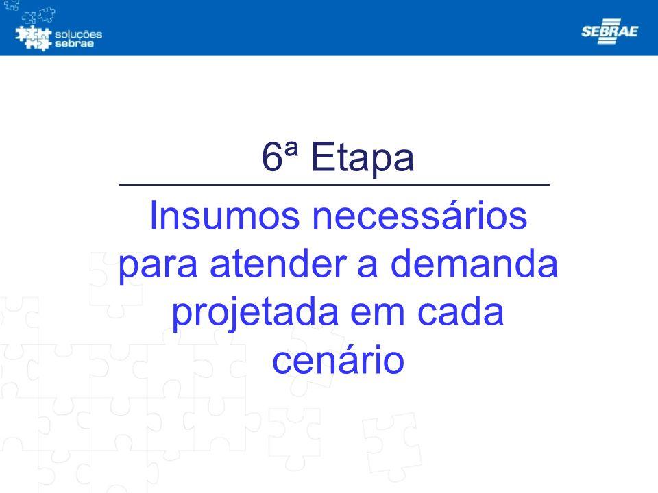 6ª Etapa Insumos necessários para atender a demanda projetada em cada cenário