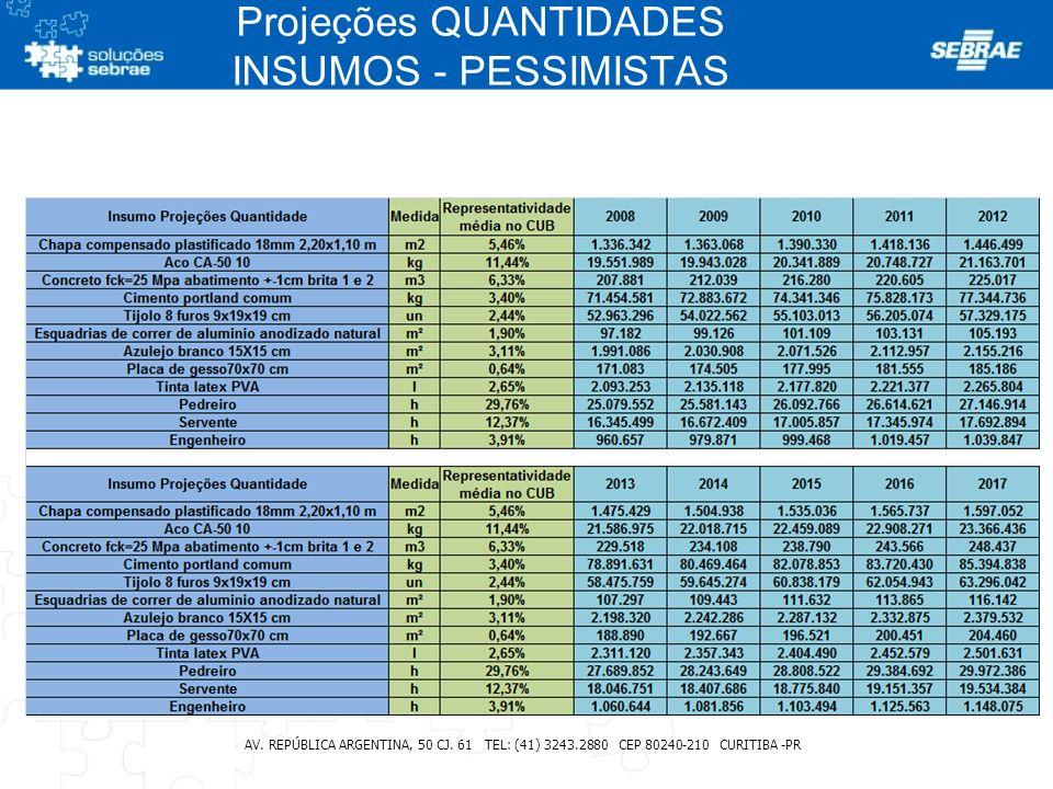 Projeções QUANTIDADES INSUMOS - PESSIMISTAS AV. REPÚBLICA ARGENTINA, 50 CJ. 61 TEL: (41) 3243.2880 CEP 80240-210 CURITIBA -PR
