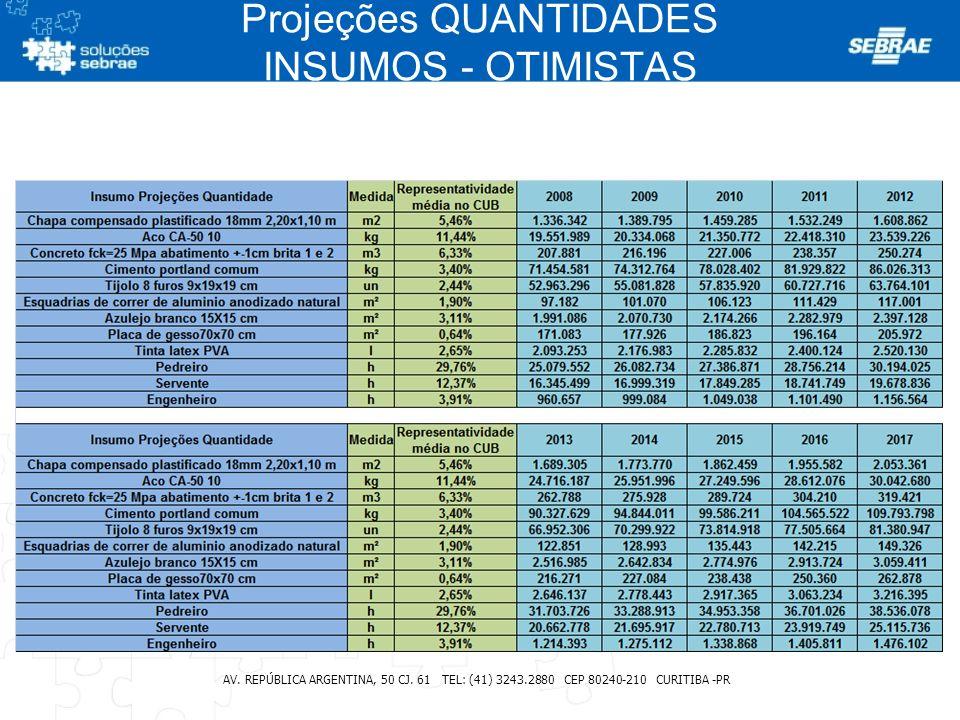 Projeções QUANTIDADES INSUMOS - OTIMISTAS AV. REPÚBLICA ARGENTINA, 50 CJ. 61 TEL: (41) 3243.2880 CEP 80240-210 CURITIBA -PR