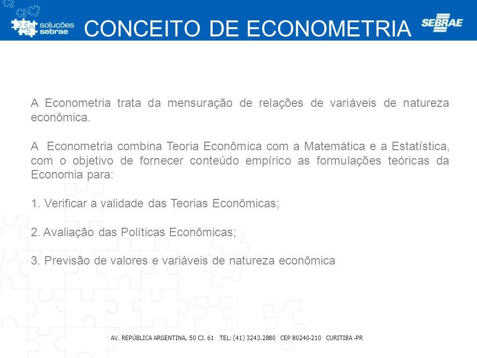 CONCEITO DE ECONOMETRIA AV. REPÚBLICA ARGENTINA, 50 CJ. 61 TEL: (41) 3243.2880 CEP 80240-210 CURITIBA -PR A Econometria trata da mensuração de relaçõe