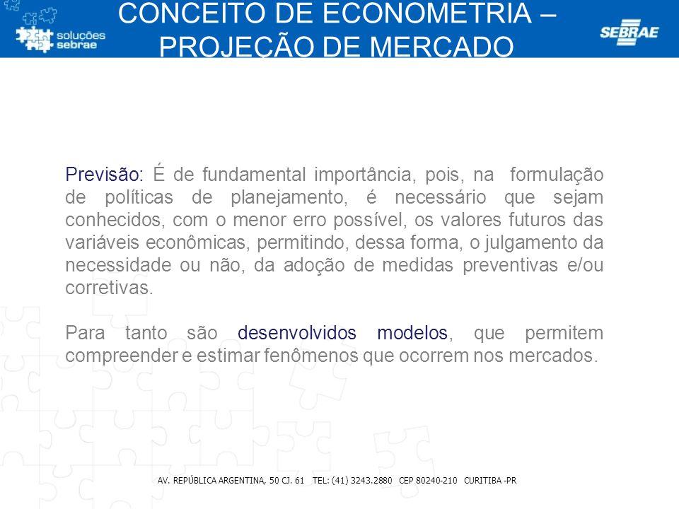 CONCEITO DE ECONOMETRIA – PROJEÇÃO DE MERCADO AV. REPÚBLICA ARGENTINA, 50 CJ. 61 TEL: (41) 3243.2880 CEP 80240-210 CURITIBA -PR Previsão: É de fundame