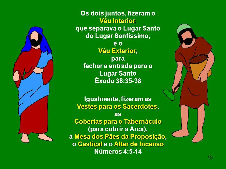 Os dois juntos, fizeram o Véu Interior Véu Interior, que separava o Lugar Santo do Lugar Santíssimo, e o Véu Exterior Véu Exterior, para fechar a entr