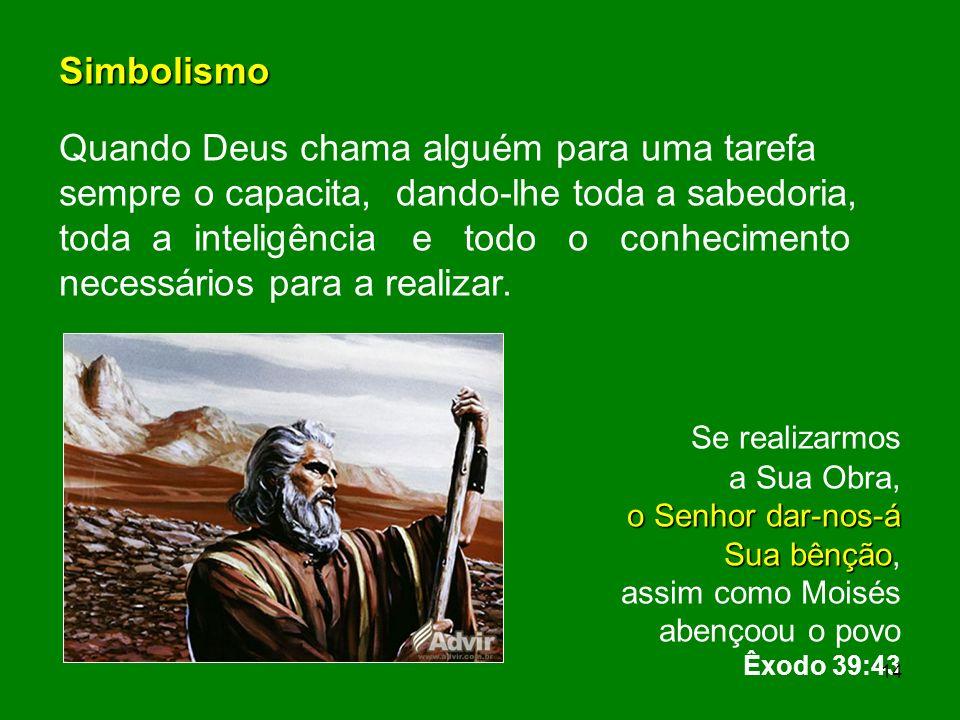Simbolismo Quando Deus chama alguém para uma tarefa sempre o capacita, dando-lhe toda a sabedoria, toda a inteligência e todo o conhecimento necessári