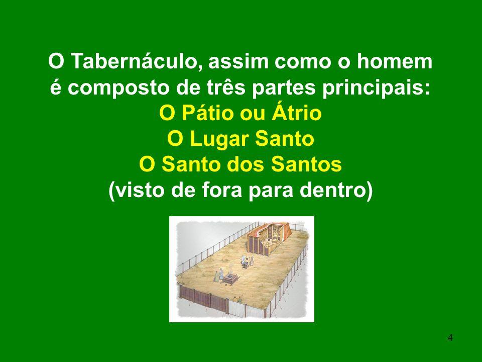 4 O Tabernáculo, assim como o homem é composto de três partes principais: O Pátio ou Átrio O Lugar Santo O Santo dos Santos (visto de fora para dentro