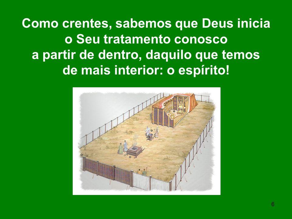 7 As divisões citadas do Tabernáculo representam corpo, alma e espírito.