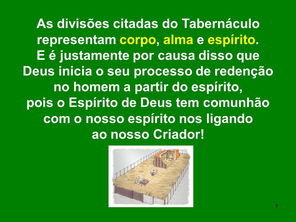 7 As divisões citadas do Tabernáculo representam corpo, alma e espírito. E é justamente por causa disso que Deus inicia o seu processo de redenção no