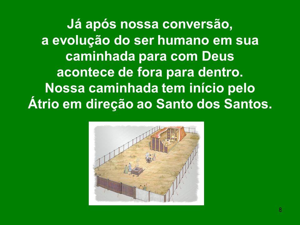 8 Já após nossa conversão, a evolução do ser humano em sua caminhada para com Deus acontece de fora para dentro. Nossa caminhada tem início pelo Átrio