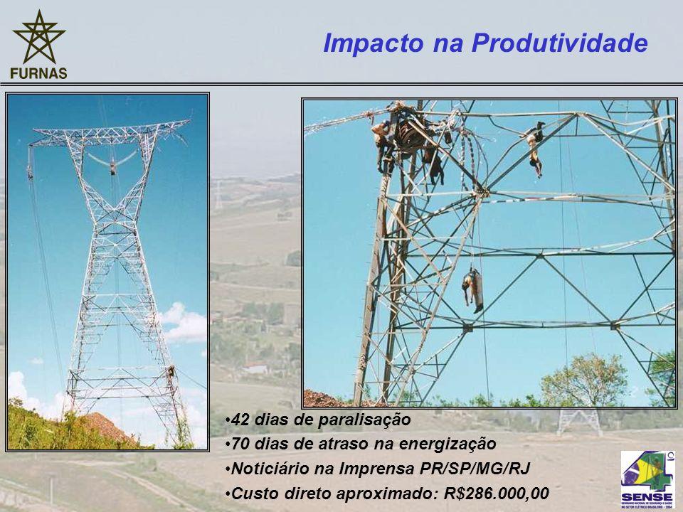 42 dias de paralisação 70 dias de atraso na energização Noticiário na Imprensa PR/SP/MG/RJ Custo direto aproximado: R$286.000,00 Impacto na Produtivid