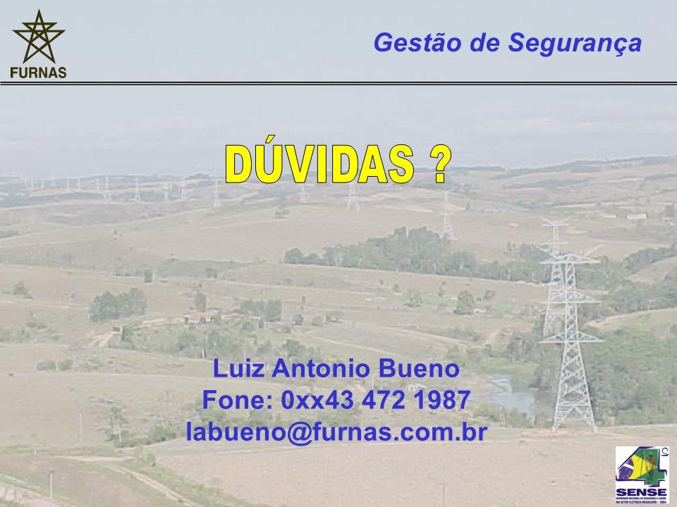Luiz Antonio Bueno Fone: 0xx43 472 1987 labueno@furnas.com.br Gestão de Segurança