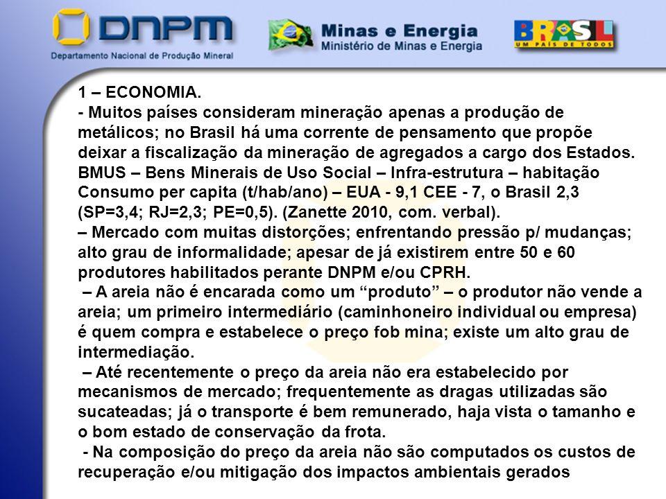 - Preço fob mina (2009) – R$ 250-300/carrada (18 m3) – R$ 13,88 - 16,66/m3 (2010) – R$ 400,00/carrada (18 m3) – R$ 22,22/m3 - Produção anual – da ordem de 3 milhões de m3 (estatística oficial baseada no consumo de cimento); é possível que a produção anual esteja próxima do dobro (estimativa grosseira).