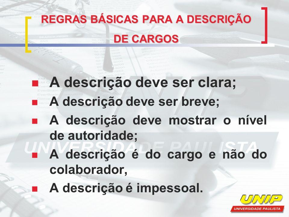 REGRAS IMPOSTAS NA ANÁLISE DE CARGOS Mentais: instrução, experiência, aptidões, iniciativas etc.