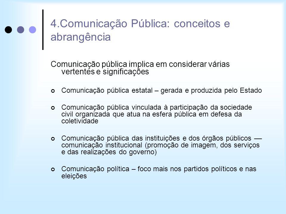 4.Comunicação Pública: conceitos e abrangência Comunicação pública implica em considerar várias vertentes e significações Comunicação pública estatal