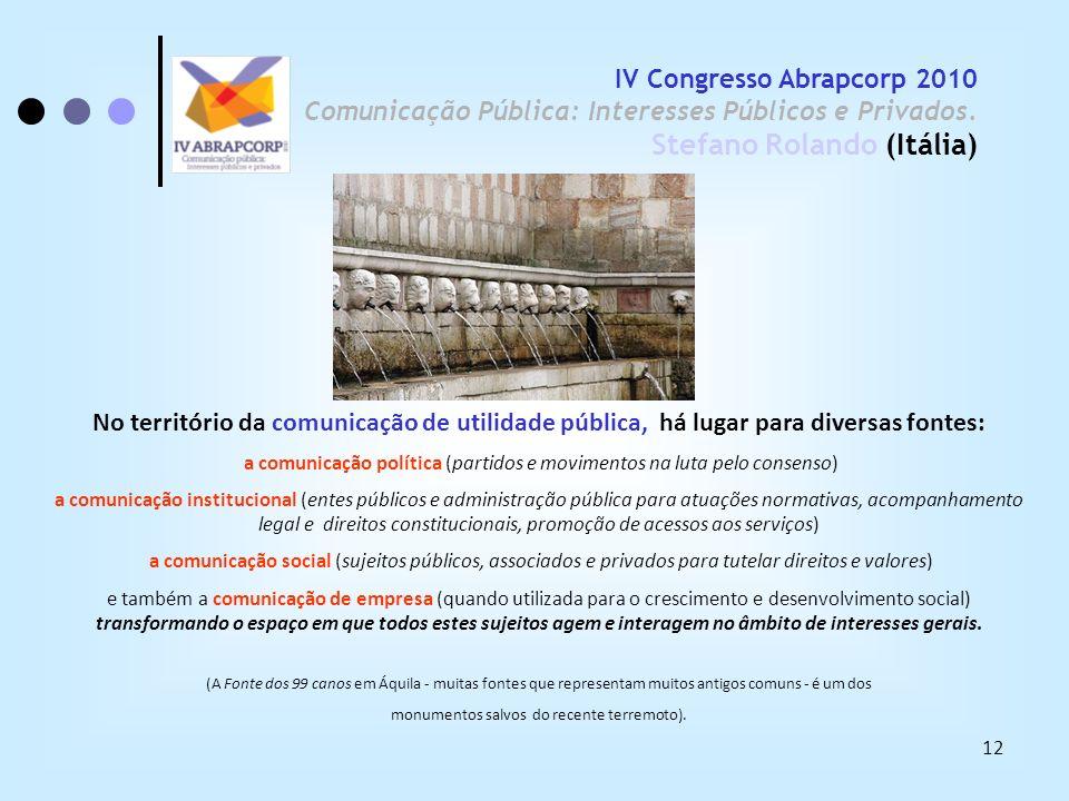 12 IV Congresso Abrapcorp 2010 Comunicação Pública: Interesses Públicos e Privados. Stefano Rolando (Itália) No território da comunicação de utilidade