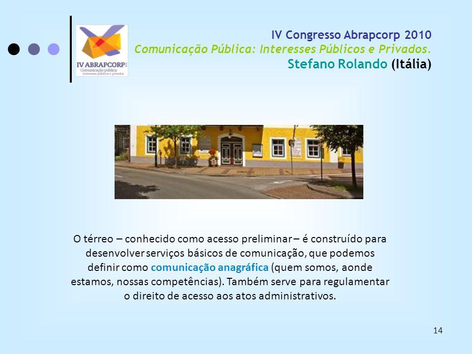 14 IV Congresso Abrapcorp 2010 Comunicação Pública: Interesses Públicos e Privados. Stefano Rolando (Itália) O térreo – conhecido como acesso prelimin