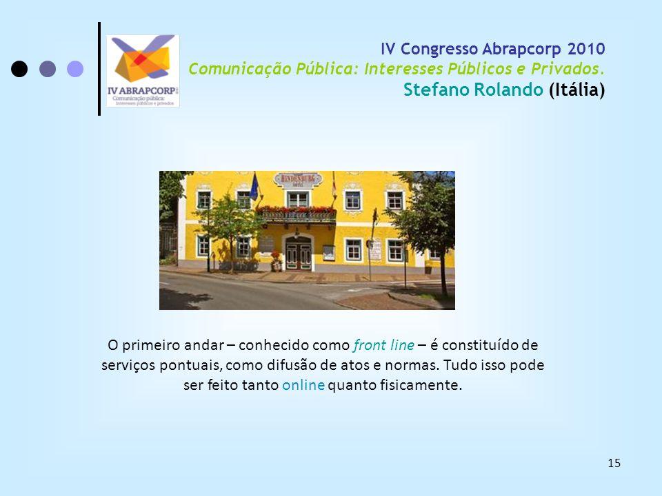 15 IV Congresso Abrapcorp 2010 Comunicação Pública: Interesses Públicos e Privados. Stefano Rolando (Itália) O primeiro andar – conhecido como front l
