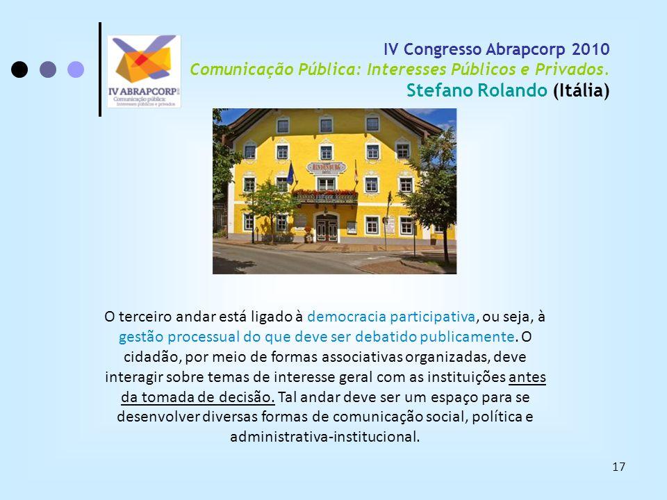 17 IV Congresso Abrapcorp 2010 Comunicação Pública: Interesses Públicos e Privados. Stefano Rolando (Itália) O terceiro andar está ligado à democracia