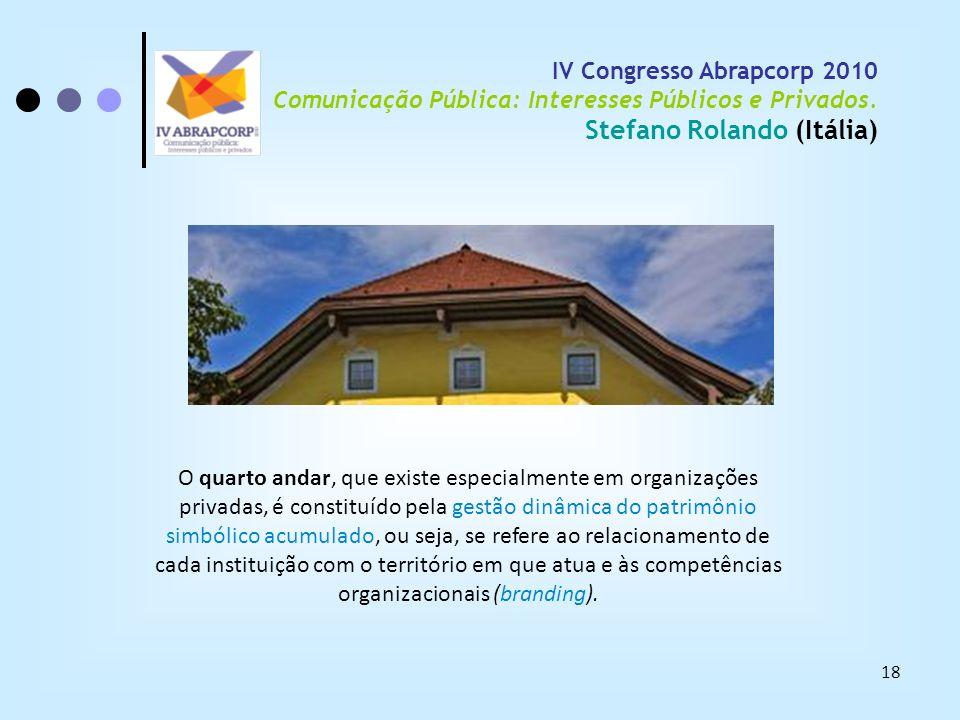 18 IV Congresso Abrapcorp 2010 Comunicação Pública: Interesses Públicos e Privados. Stefano Rolando (Itália) O quarto andar, que existe especialmente